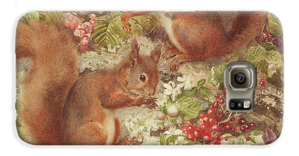 Red Squirrels Gathering Fruits And Nuts Galaxy S6 Case by Rosa Jameson