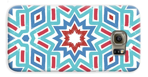 Red White And Blue Fireworks Pattern- Art By Linda Woods Galaxy S6 Case by Linda Woods