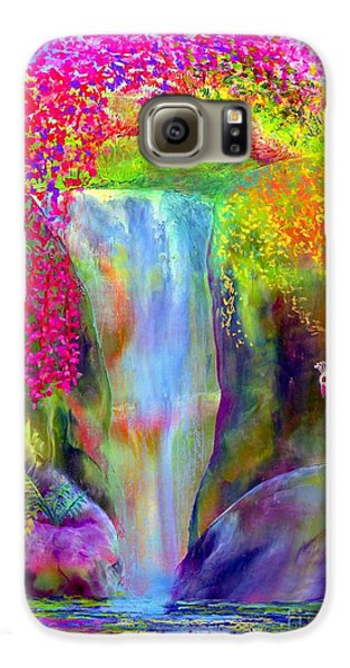 Waterfall And White Peacock, Redbud Falls Galaxy S6 Case by Jane Small