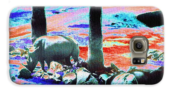 Rhinos Having A Picnic Galaxy S6 Case by Abstract Angel Artist Stephen K