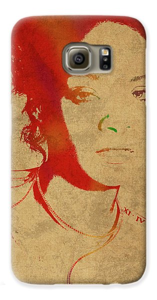 Rihanna Watercolor Portrait Galaxy S6 Case by Design Turnpike