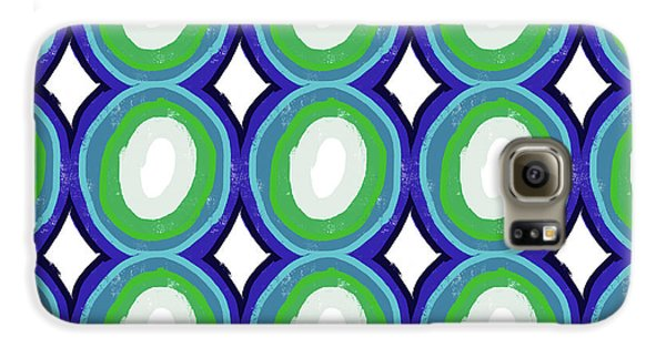 Round And Round Blue And Green- Art By Linda Woods Galaxy S6 Case by Linda Woods