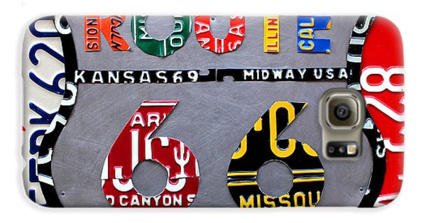 Route 66 Highway Road Sign License Plate Art Galaxy S6 Case by Design Turnpike