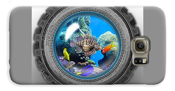 Saltwater Tire Aquarium Galaxy S6 Case by Marvin Blaine