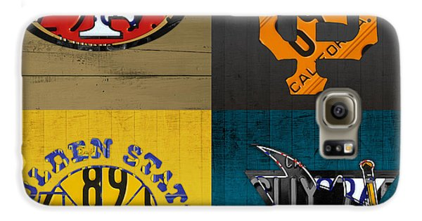 San Francisco Sports Fan Recycled Vintage California License Plate Art 49ers Giants Warriors Sharks Galaxy S6 Case by Design Turnpike
