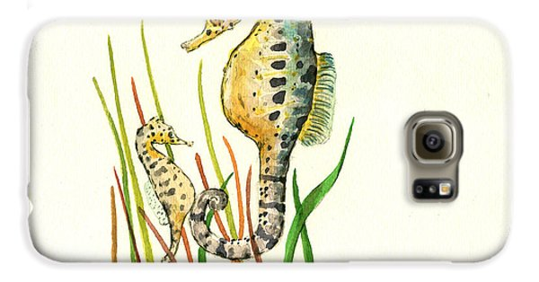 Seahorse Mom And Baby Galaxy S6 Case by Juan Bosco