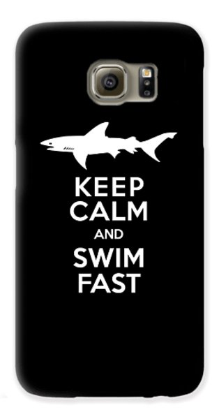Shark Keep Calm And Swim Fast Galaxy S6 Case by Antique Images