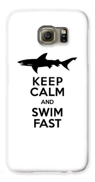 Sharks Keep Calm And Swim Fast Galaxy S6 Case by Antique Images