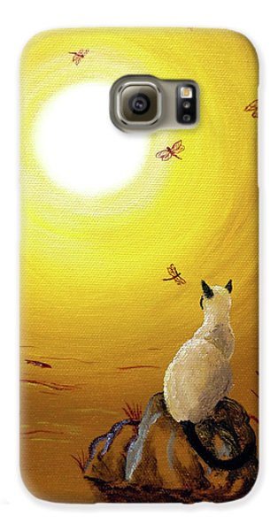 Siamese Cat With Red Dragonflies Galaxy S6 Case by Laura Iverson
