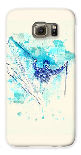 Skiing Down The Hill Galaxy S6 Case by Bekare Creative