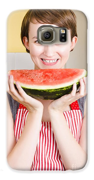 Smiling Young Woman Eating Fresh Fruit Watermelon Galaxy S6 Case by Jorgo Photography - Wall Art Gallery