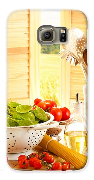 Spaghetti And Tomatoes In Country Kitchen Galaxy S6 Case by Amanda Elwell