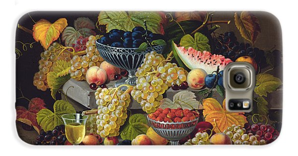 Still Life Of Melon Plums Grapes Cherries Strawberries On Stone Ledge Galaxy S6 Case by Severin Roesen