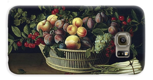 Still Life With A Basket Of Fruit And A Bunch Of Asparagus Galaxy S6 Case by Louise Moillon