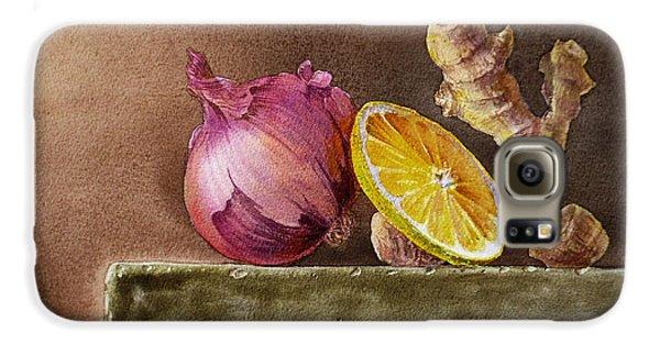 Still Life With Onion Lemon And Ginger Galaxy S6 Case by Irina Sztukowski