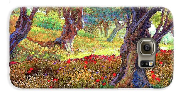 Tranquil Grove Of Poppies And Olive Trees Galaxy S6 Case by Jane Small