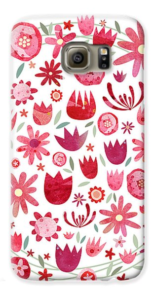 Summer Flower Circle Galaxy S6 Case by Nic Squirrell