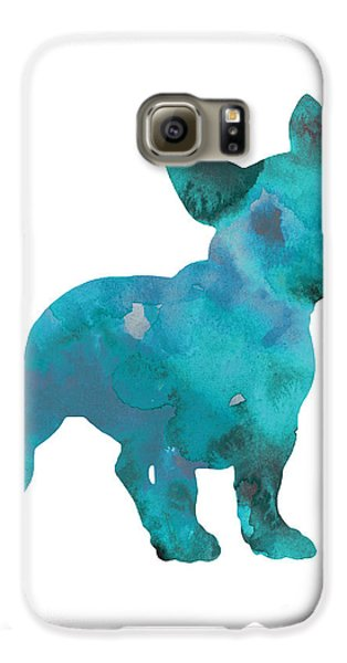 Teal Frenchie Abstract Painting Galaxy S6 Case by Joanna Szmerdt