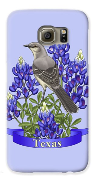 Texas State Mockingbird And Bluebonnet Flower Galaxy S6 Case by Crista Forest