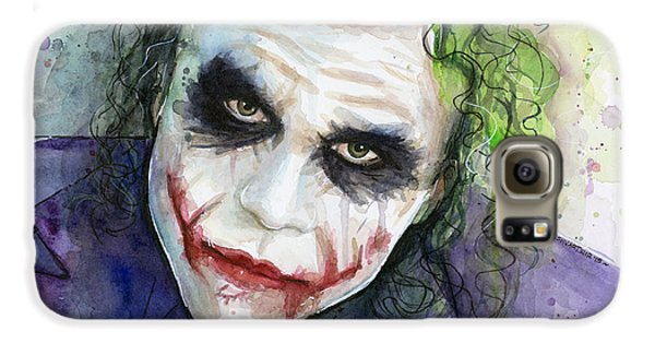 The Joker Watercolor Galaxy S6 Case by Olga Shvartsur