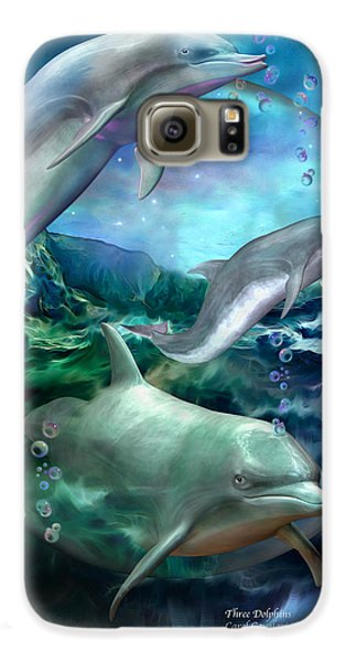 Three Dolphins Galaxy S6 Case by Carol Cavalaris