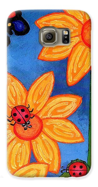 Three Ladybugs And Butterfly Galaxy S6 Case by Genevieve Esson