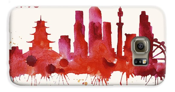 Tokyo Skyline Watercolor Poster - Cityscape Painting Artwork Galaxy S6 Case by Beautify My Walls