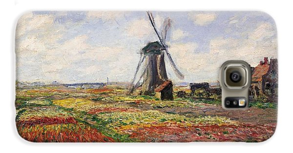 Tulip Fields With The Rijnsburg Windmill Galaxy S6 Case by Claude Monet