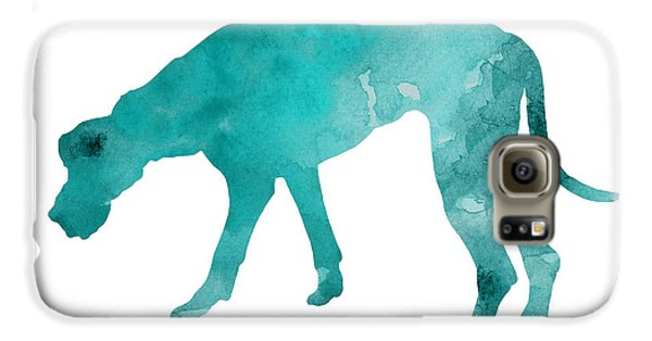Turquoise Great Dane Watercolor Art Print Paitning Galaxy S6 Case by Joanna Szmerdt