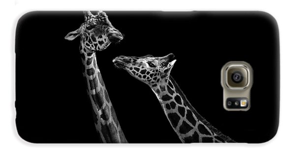 Two Giraffes In Black And White Galaxy S6 Case by Lukas Holas