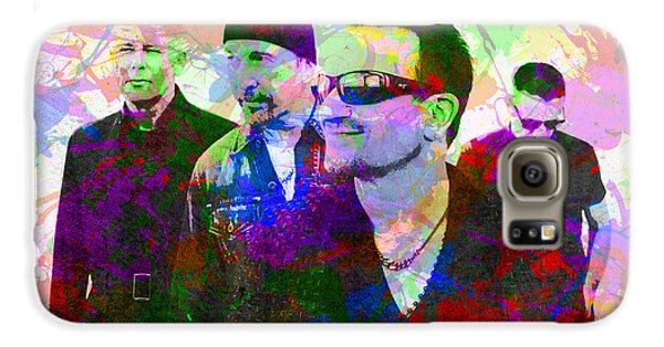 U2 Band Portrait Paint Splatters Pop Art Galaxy S6 Case by Design Turnpike