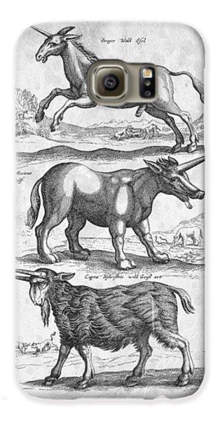 Unicorns Historiae Naturalis 1657 Galaxy S6 Case by Aged Pixel