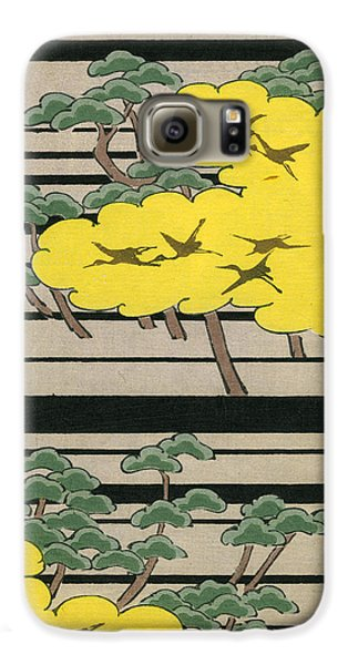 Vintage Japanese Illustration Of An Abstract Forest Landscape With Flying Cranes Galaxy S6 Case by Japanese School