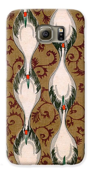 Vintage Japanese Illustration Of Cranes Flying Galaxy S6 Case by Japanese School