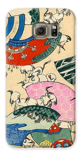 Vintage Japanese Illustration Of Fans And Cranes Galaxy S6 Case by Japanese School