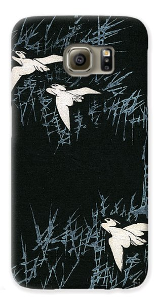Vintage Japanese Illustration Of Three Cranes Flying In A Night Landscape Galaxy S6 Case by Japanese School