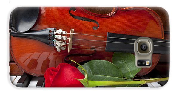 Violin With Rose On Piano Galaxy S6 Case by Garry Gay