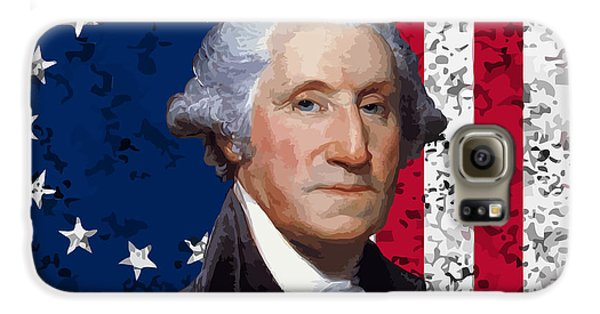 Washington And The American Flag Galaxy S6 Case by War Is Hell Store