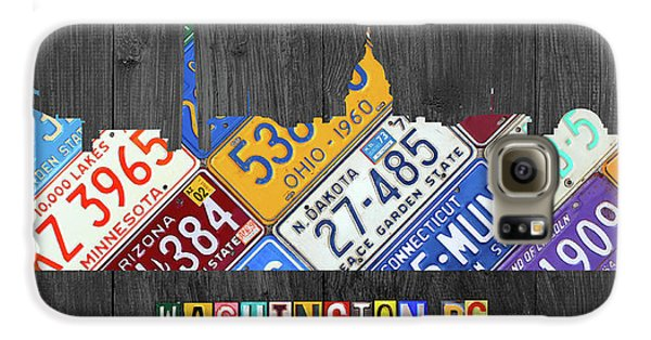 Washington Dc Skyline Recycled Vintage License Plate Art Galaxy S6 Case by Design Turnpike
