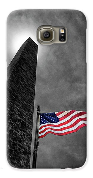 Washington Monument And The Stars And Stripes Galaxy S6 Case by Andrew Soundarajan