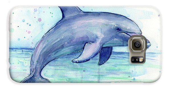 Watercolor Dolphin Painting - Facing Right Galaxy S6 Case by Olga Shvartsur