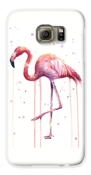 Watercolor Flamingo Galaxy S6 Case by Olga Shvartsur