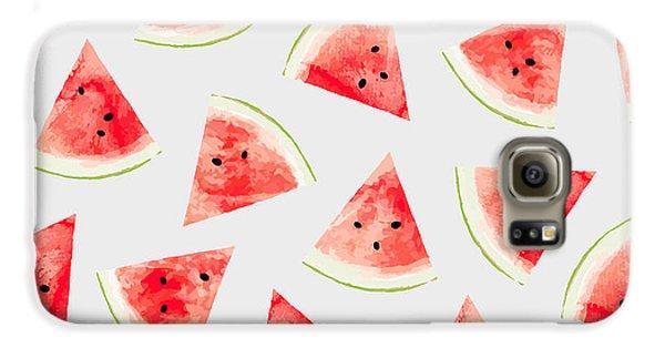 Watercolor Watermelon Pattern Galaxy S6 Case by Uma Gokhale