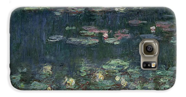 Waterlilies Green Reflections Galaxy S6 Case by Claude Monet