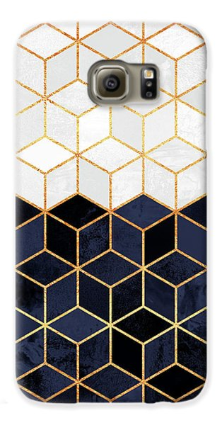 White And Navy Cubes Galaxy S6 Case by Elisabeth Fredriksson