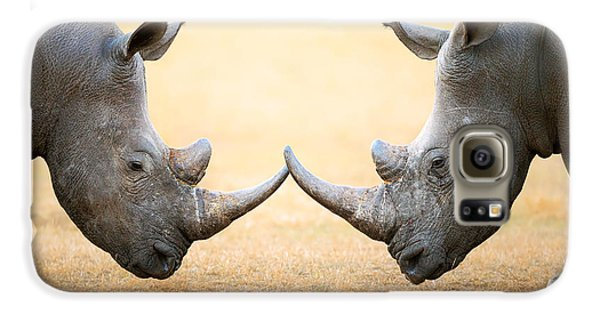 White Rhinoceros  Head To Head Galaxy S6 Case by Johan Swanepoel