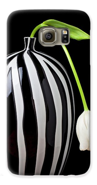 White Tulip In Striped Vase Galaxy S6 Case by Garry Gay