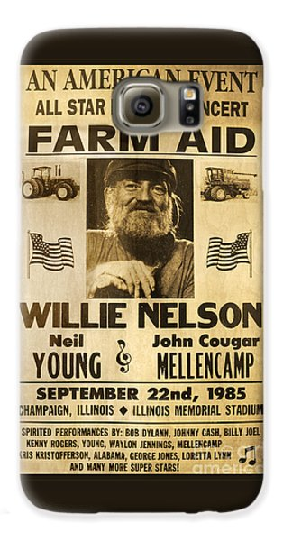Willie Nelson Neil Young 1985 Farm Aid Poster Galaxy S6 Case by John Stephens