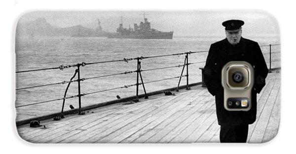 Winston Churchill At Sea Galaxy S6 Case by War Is Hell Store
