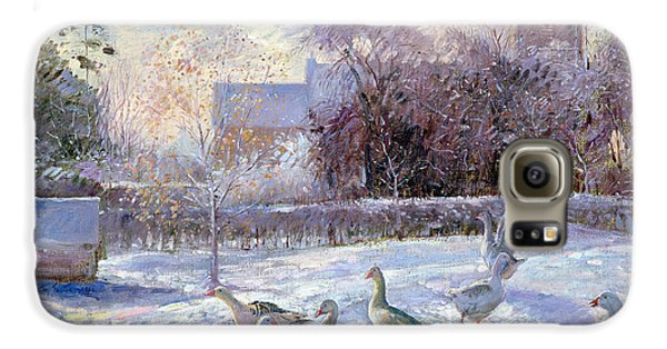 Winter Geese In Church Meadow Galaxy S6 Case by Timothy Easton